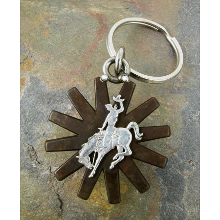 Brown Spur Rowel Key Ring With Bucking Horse